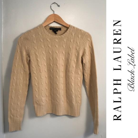 2315c706173b RL BLACK LABEL Camel Cable Knit Cashmere Sweater. M 5ac2e8312ab8c5a076cc0c48